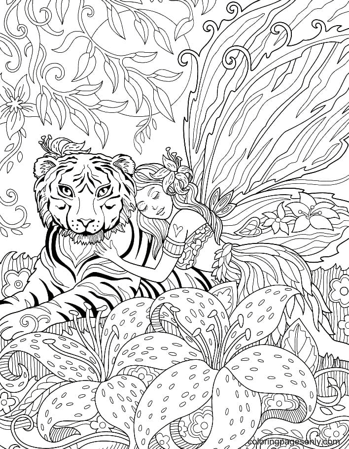 Fairy and Tiger Coloring Page