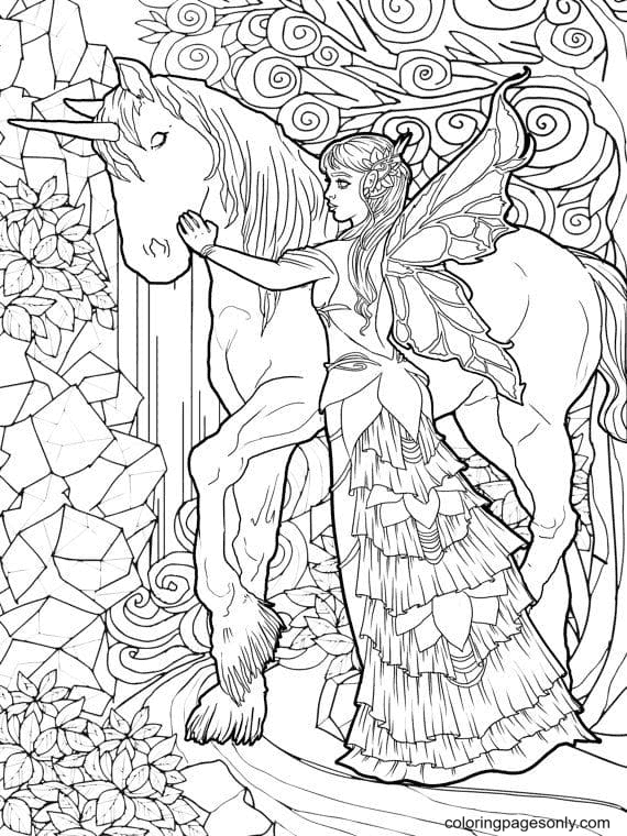 Fairy and Unicorn Coloring Page