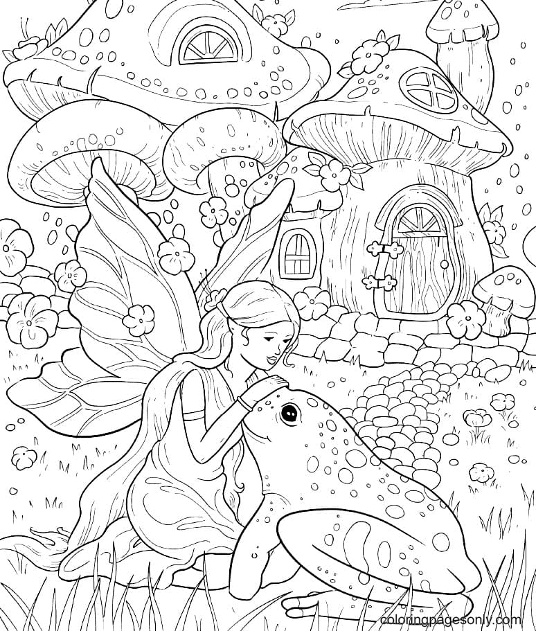 Fairy and frog in a fairyland Coloring Page