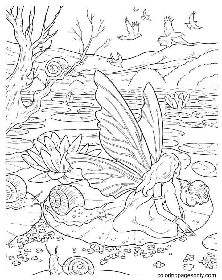 Fairy and snails Coloring Page