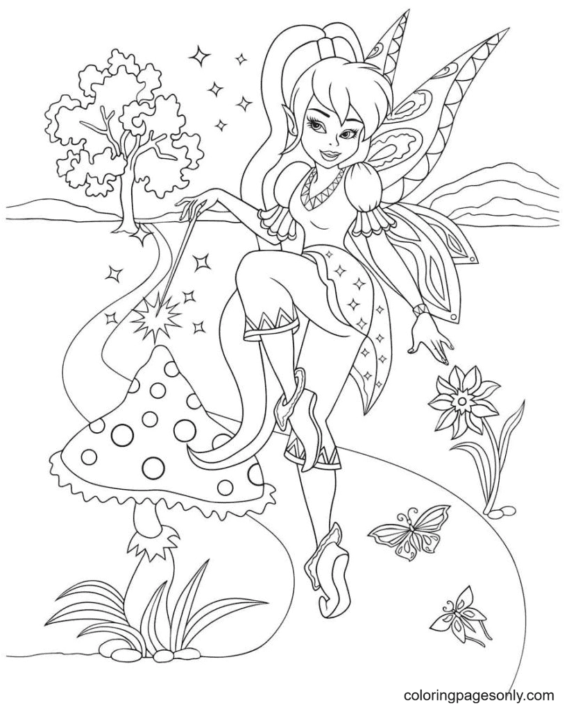 Fairy conjured a mushroom Coloring Page