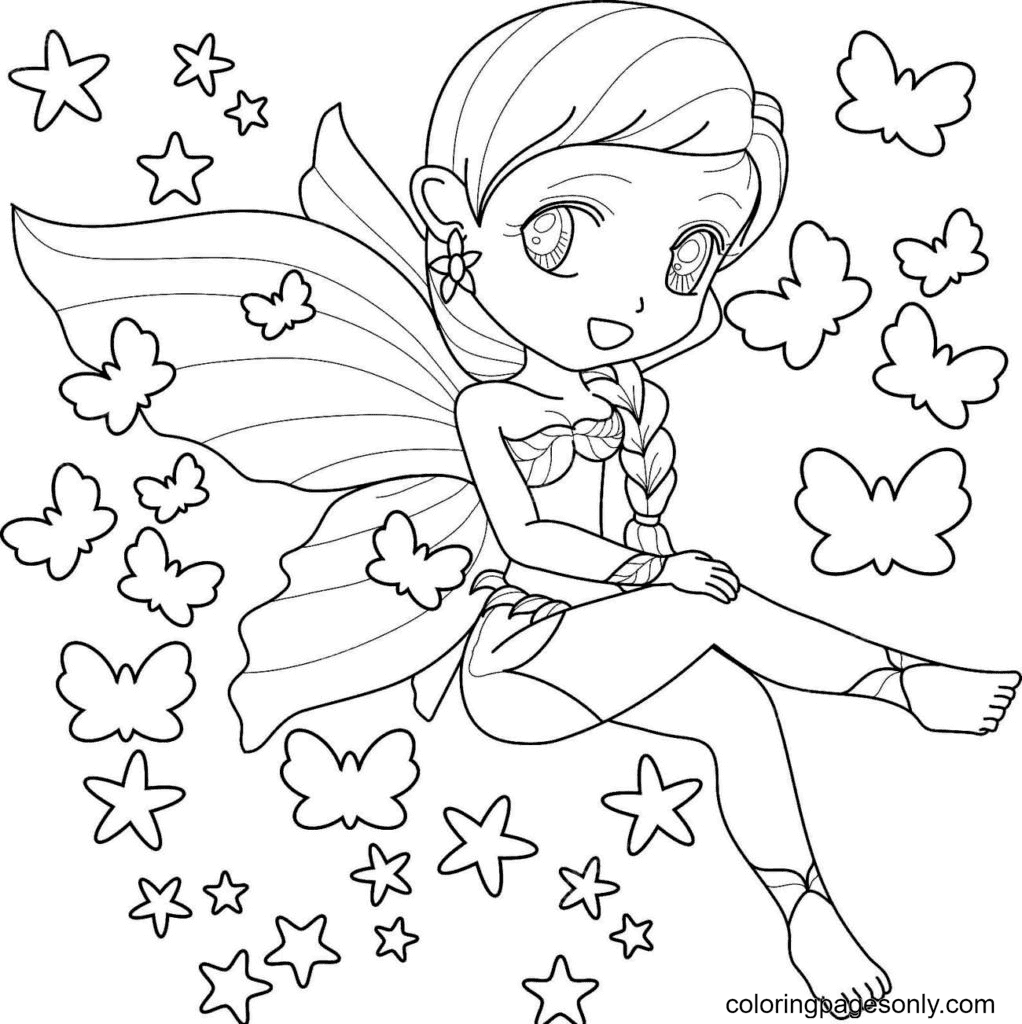 Fairy in a swimsuit Coloring Page