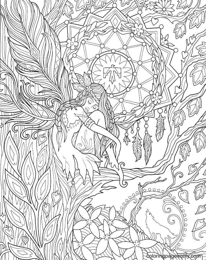 Fairy in the tree Coloring Page