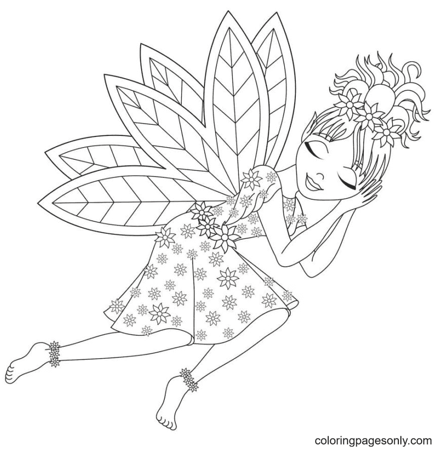 Fairy is Sleeping Coloring Page