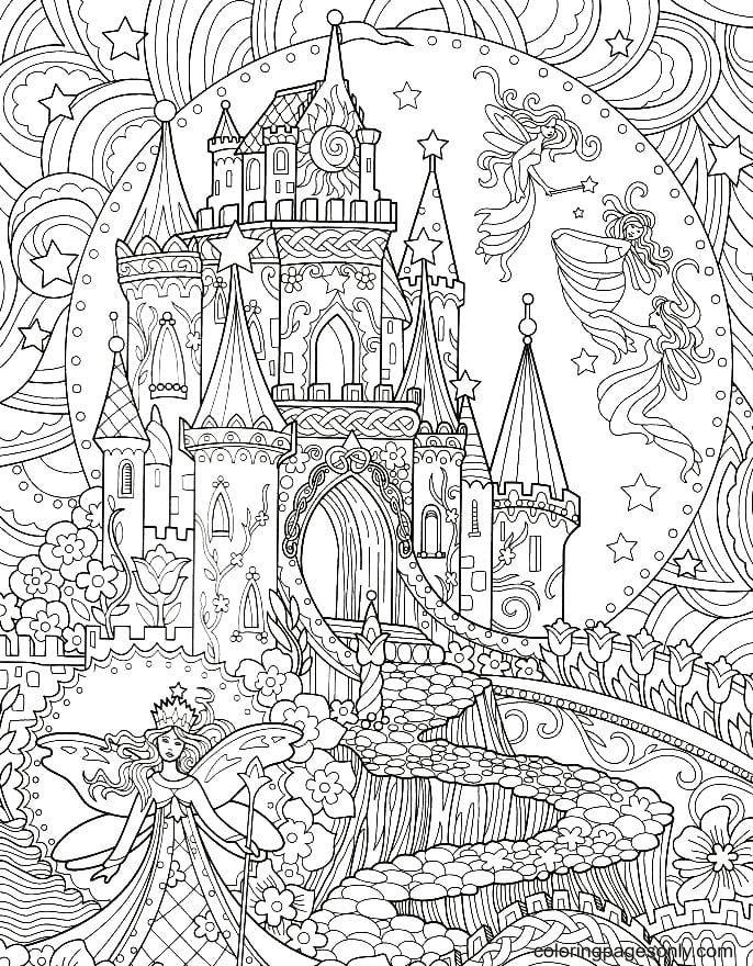 Fairy near the castle Coloring Page