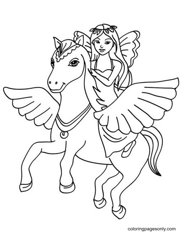 Fairy on a Unicorn Coloring Page