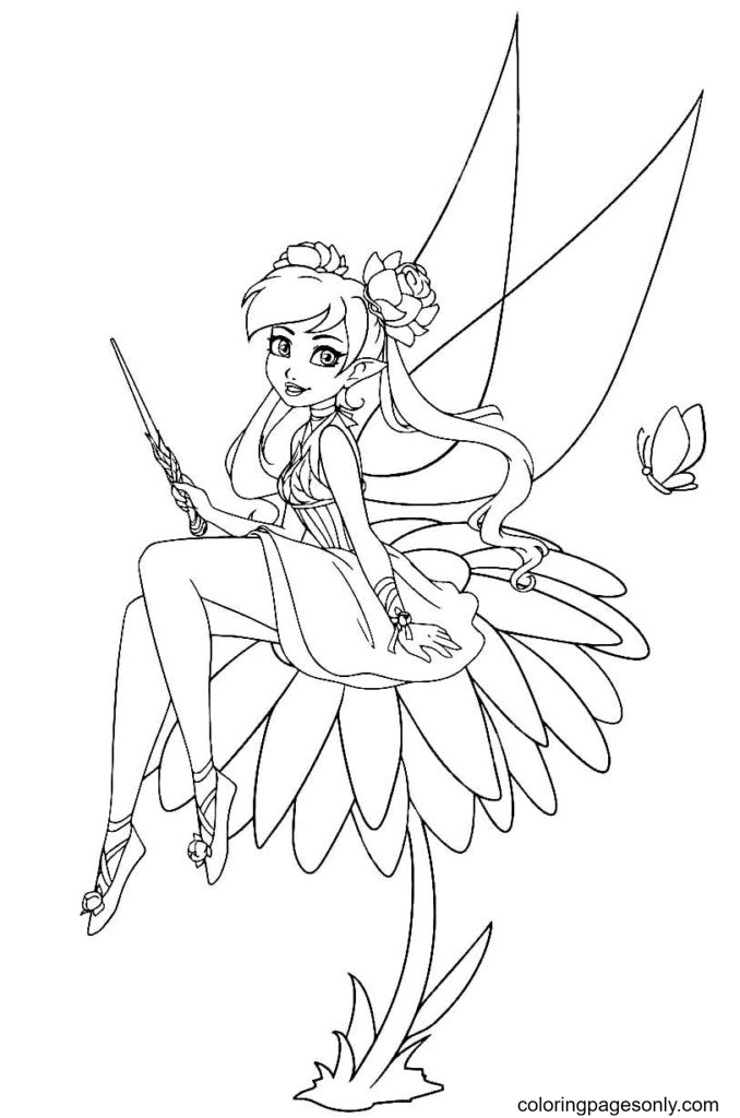 Fairy on a flower Coloring Page