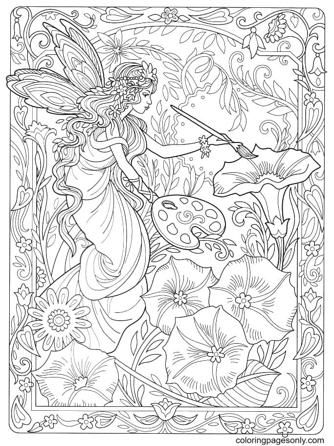 Fairy paints flowers Coloring Page