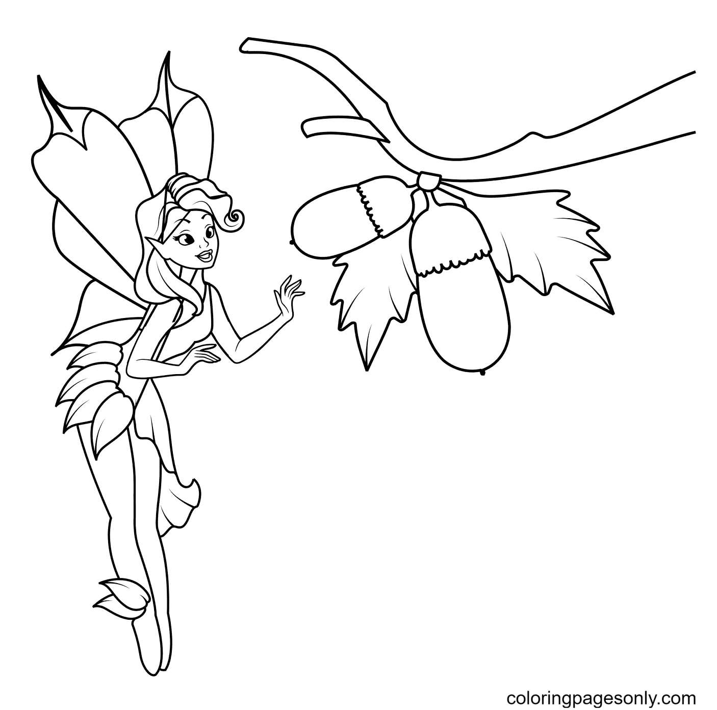 Fairy picks acorns Coloring Page