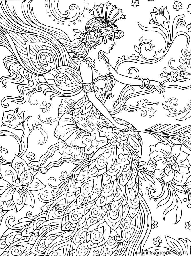 Fairy with peacock feathers Coloring Page
