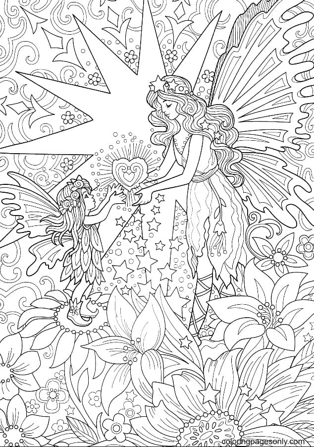 Fairy works magic Coloring Page
