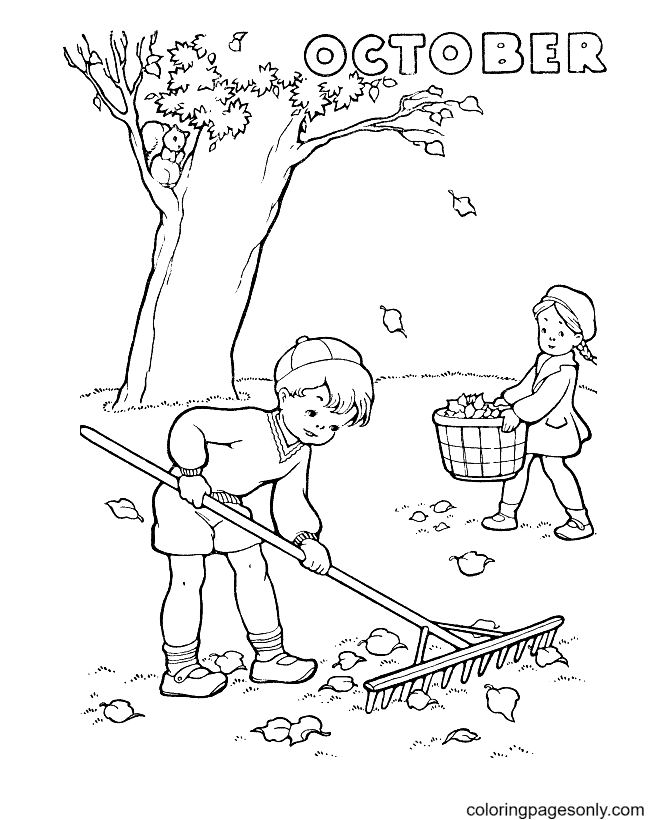 Fall October Coloring Page
