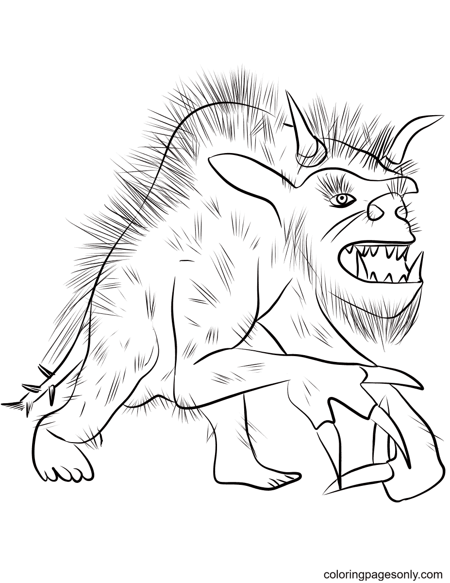 Fantasy Werewolf Coloring Page