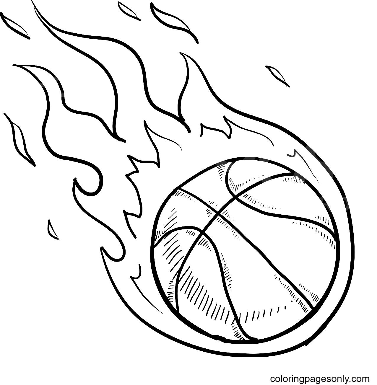 Flaming Basketball Coloring Page
