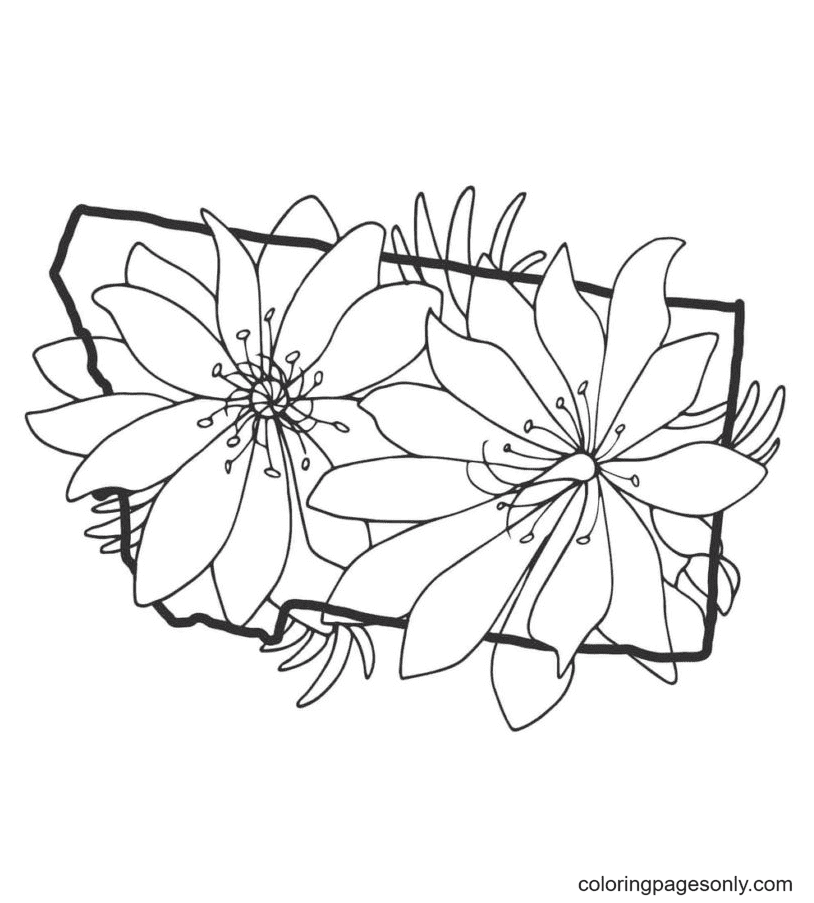 Flowers Aestheics Coloring Page