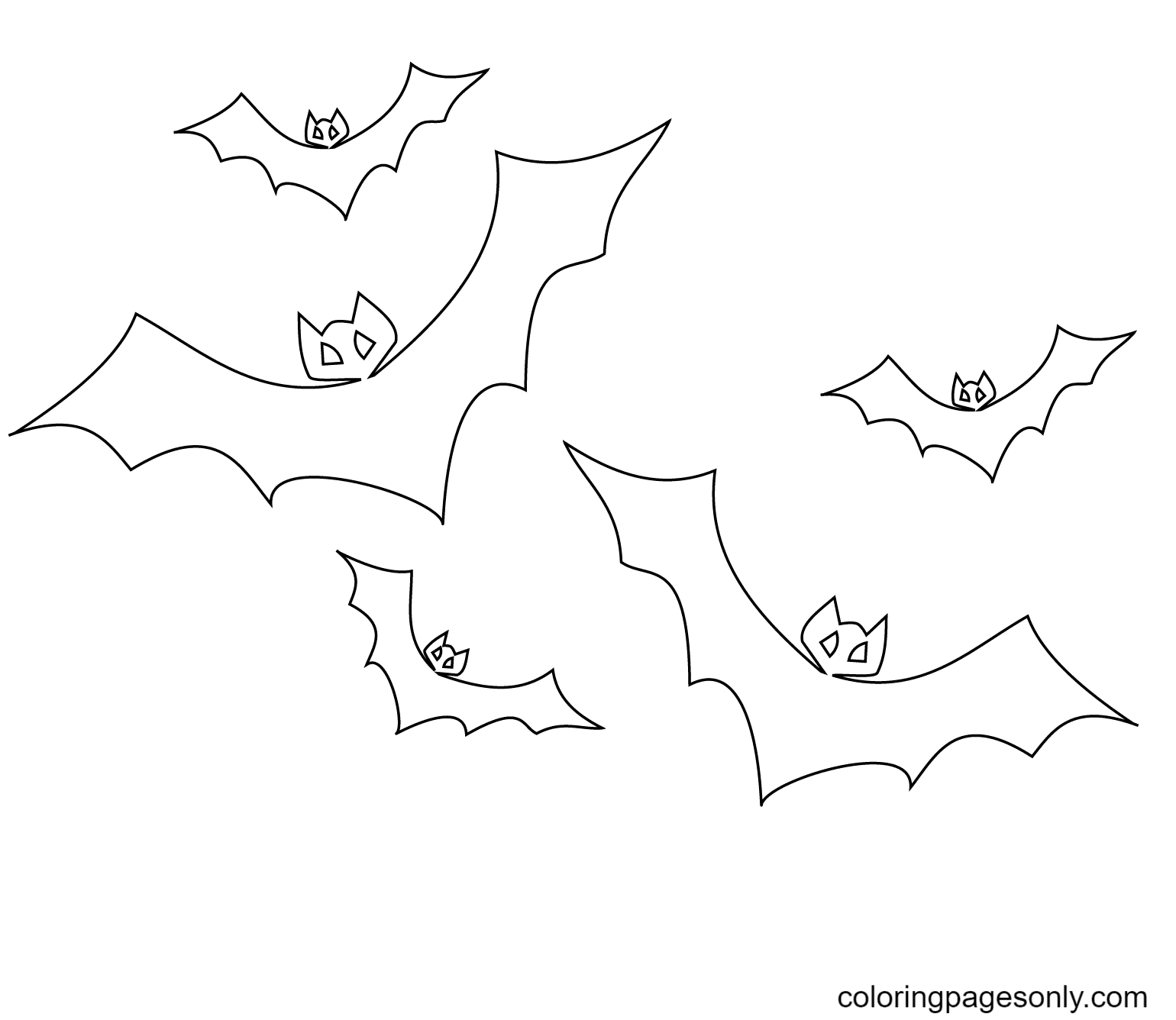 Flying Bats Coloring Page