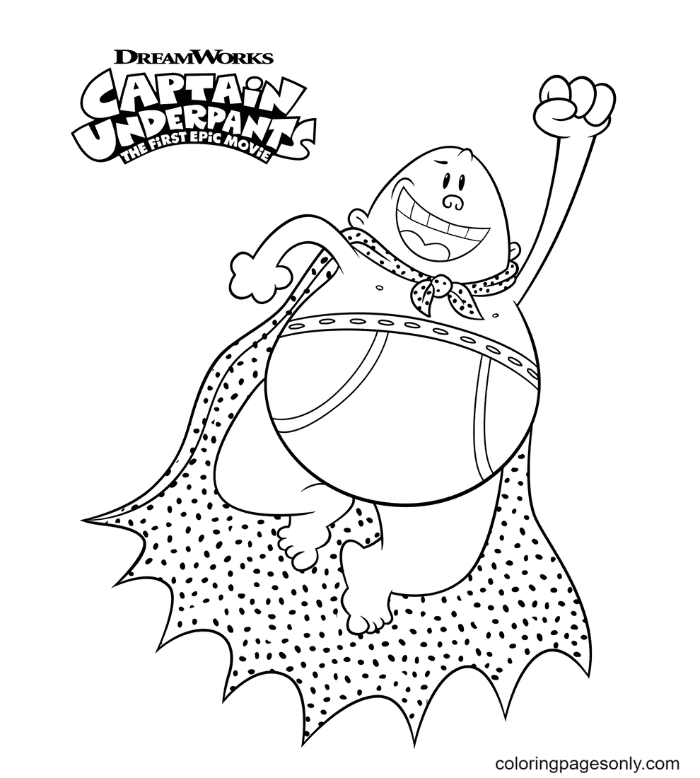 Flying Captain Underpants Coloring Page