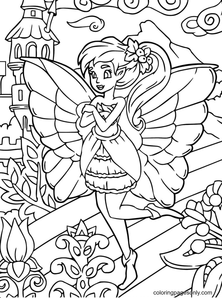 Forest Fairy Free Coloring Page