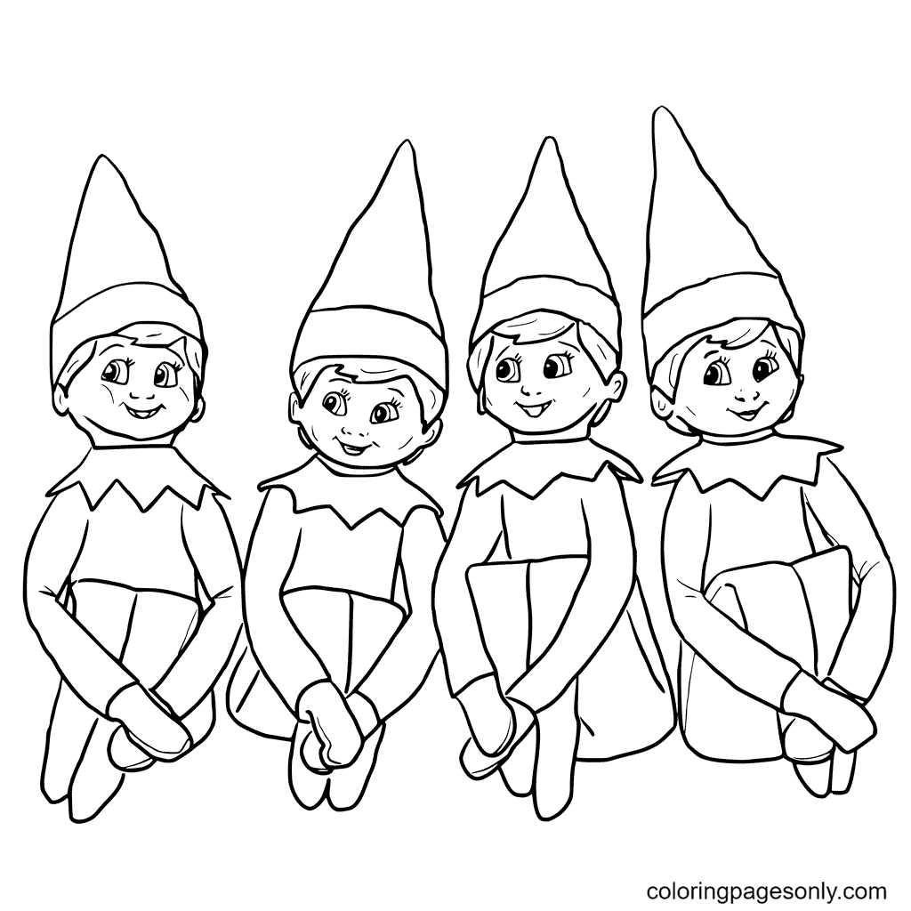 Four Elves Coloring Page