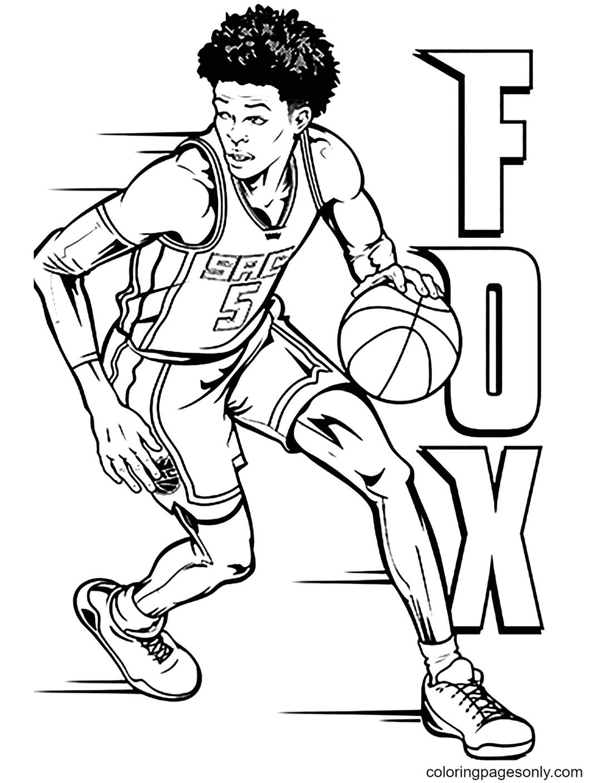Fox Basketball Pleyer Coloring Page