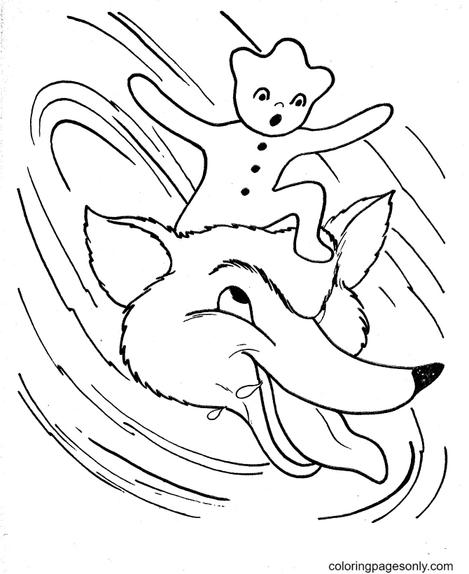 Fox and Gingerbread Man Coloring Page