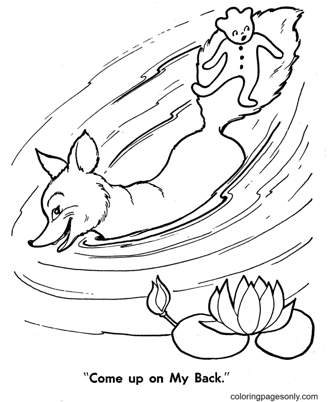 Fox with Gingerbread Man Coloring Page
