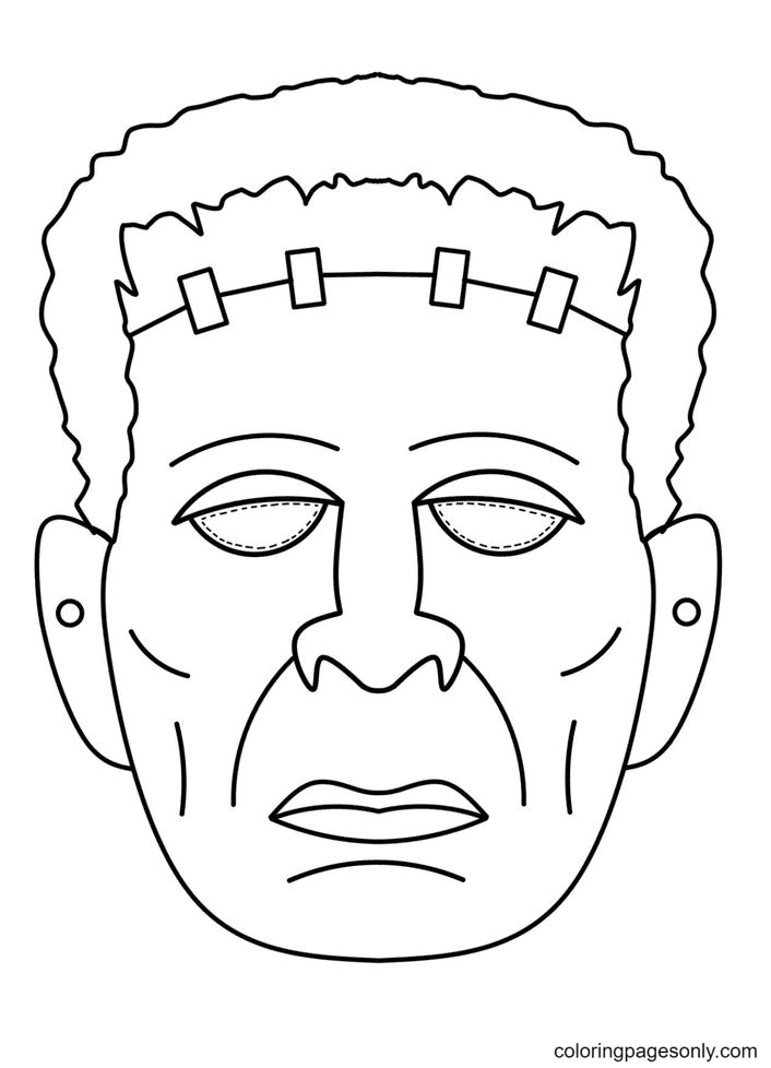 Frankenstein Halloween Mask Coloring Page