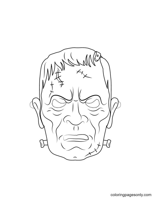 Frankenstein Mask Coloring Page
