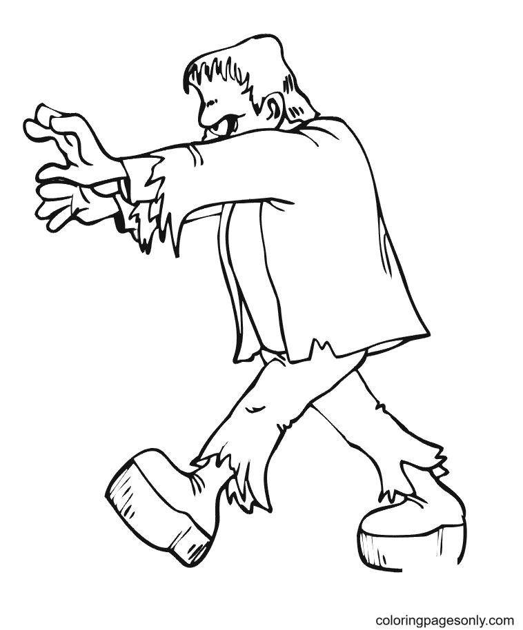 Frankenstein Walking Coloring Page