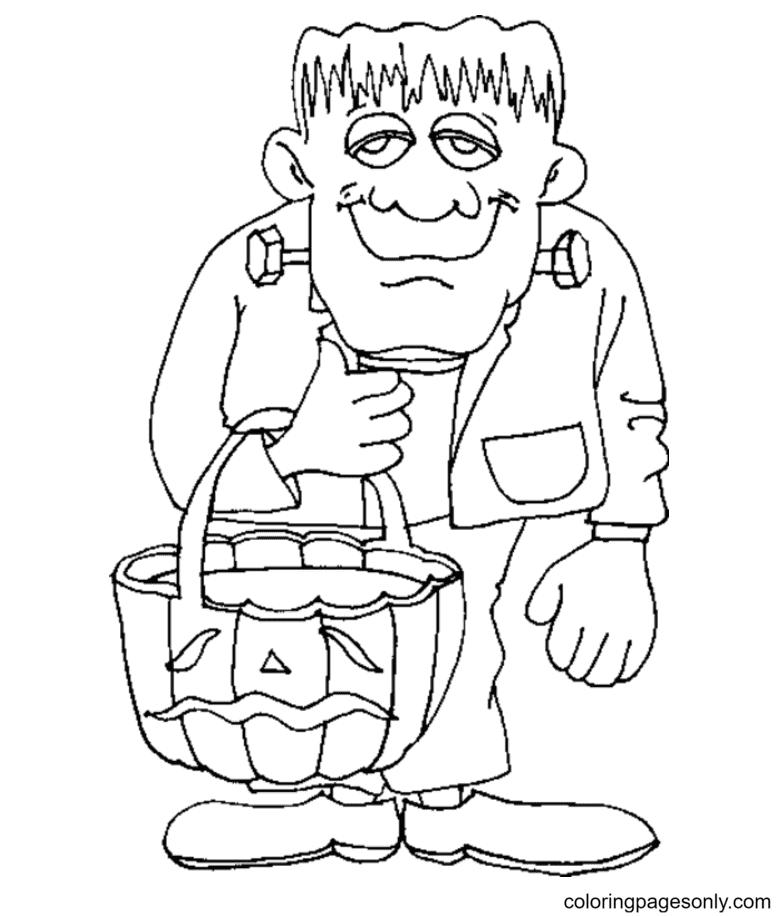 Frankenstein and Pumpkin Basket Coloring Page