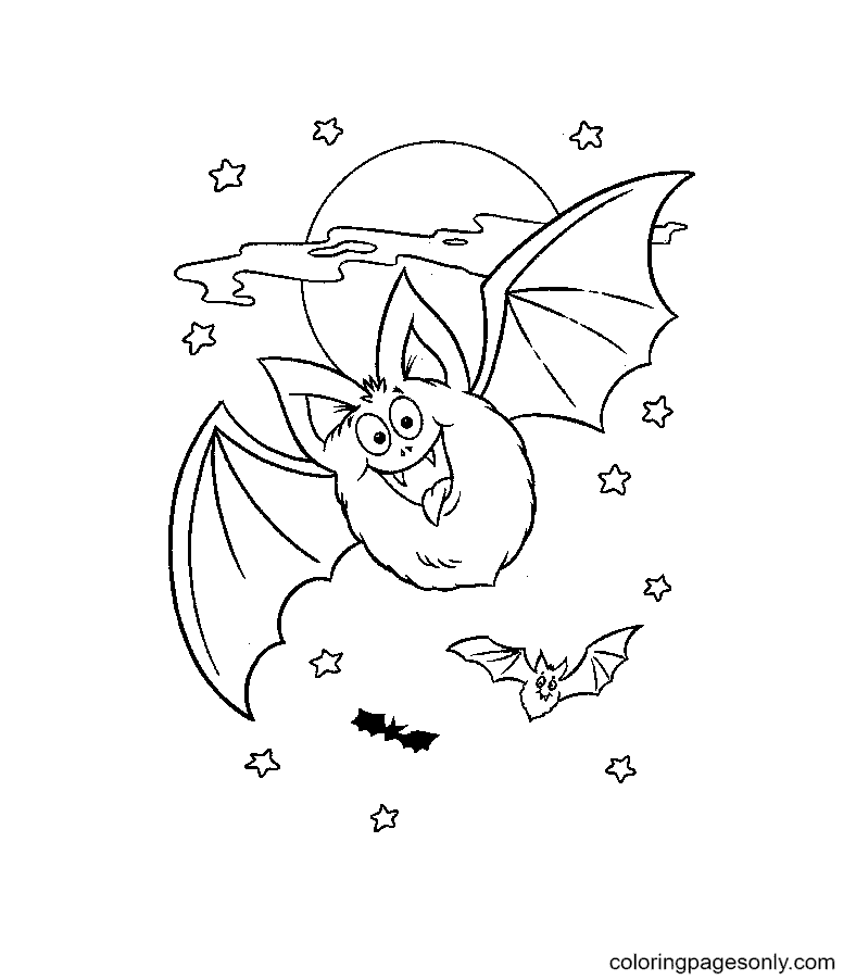 Free Bat Halloween Coloring Page