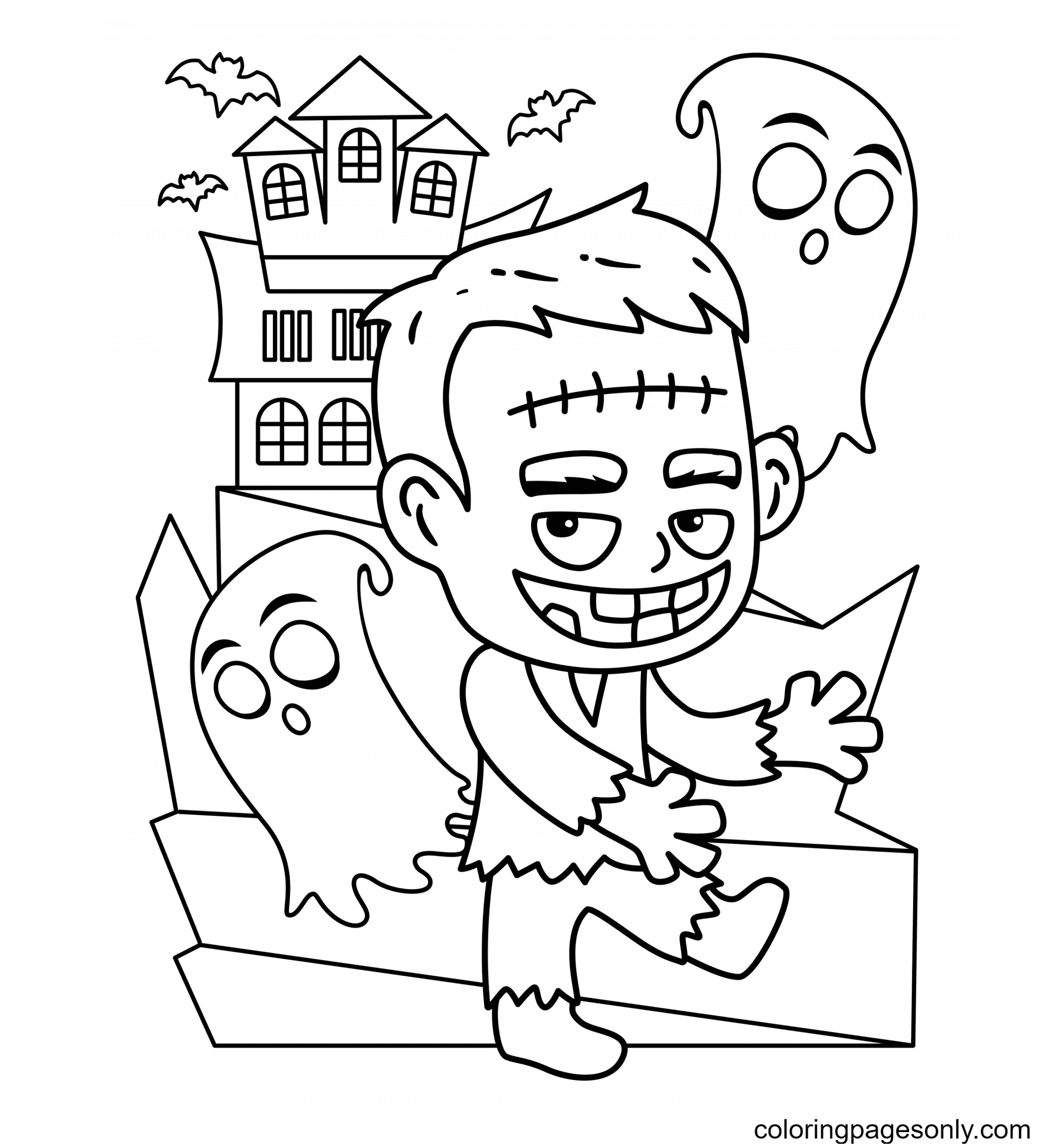 Free Halloween Frankenstein Coloring Page