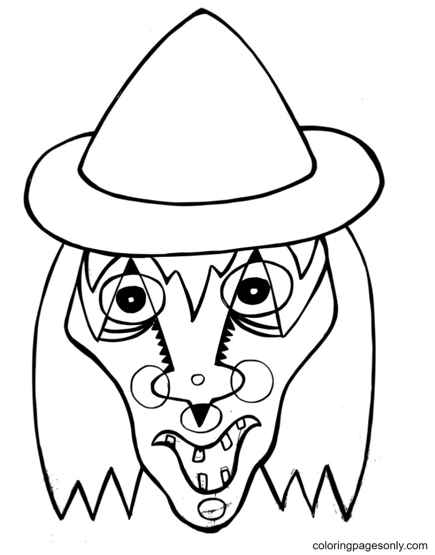 Free Halloween Masks Coloring Page