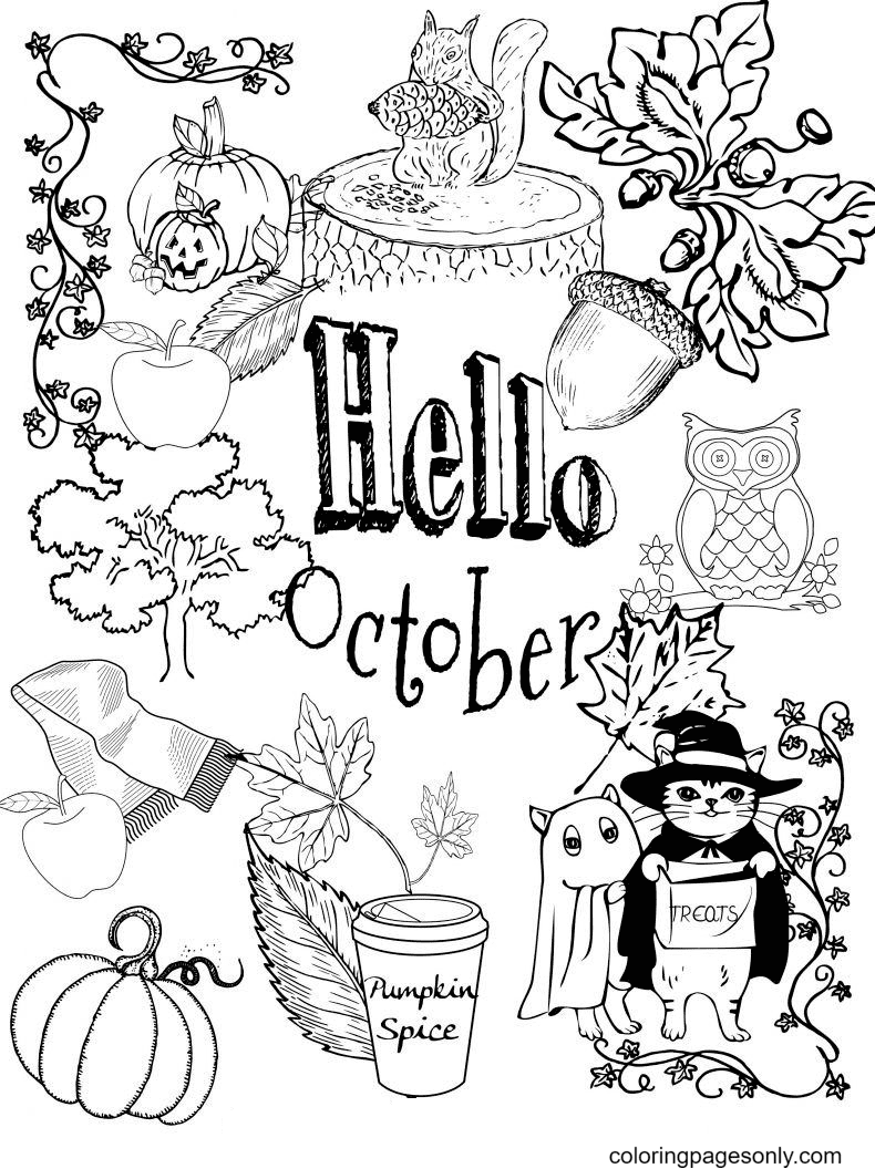 Free Hello October Coloring Page