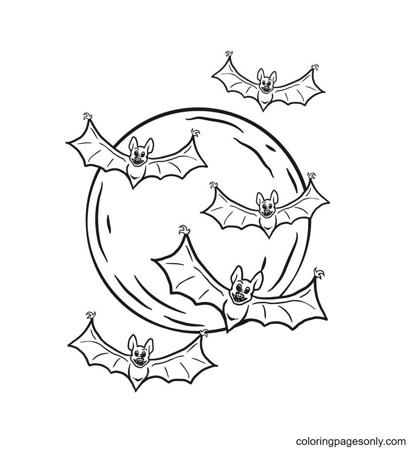 Free Printable Halloween Bats Coloring Page
