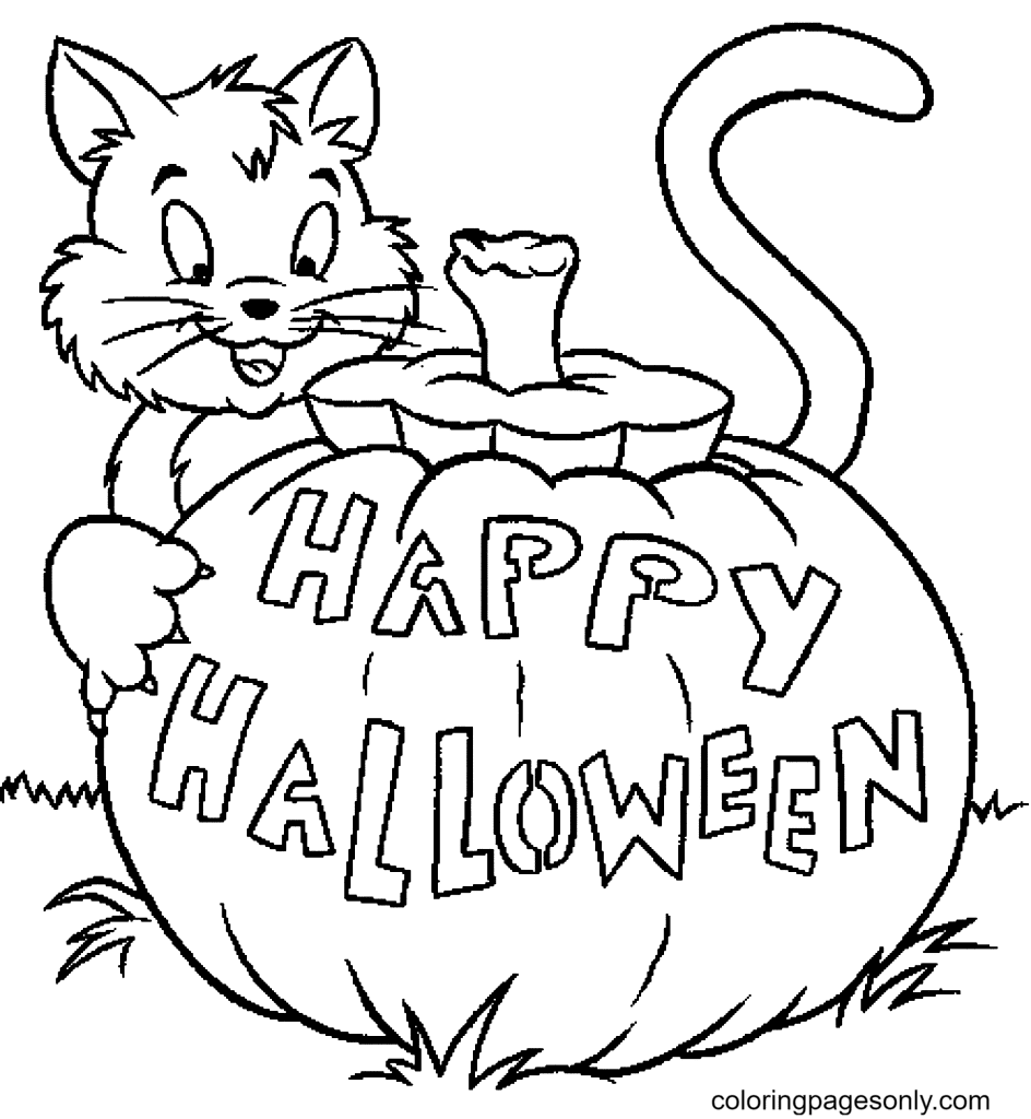 Free Printable Halloween Cat Coloring Page