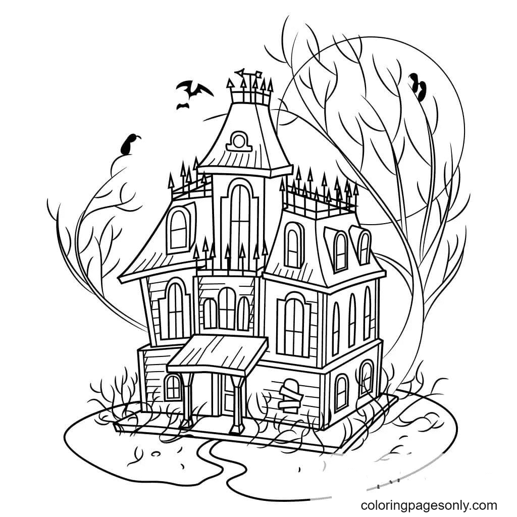 Free Printable Haunted House Coloring Page