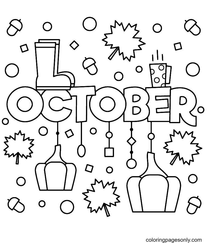 Free Printable October Coloring Page