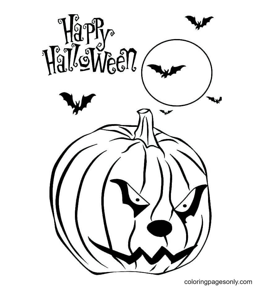 Free Printable Pumpkin Halloween Coloring Page