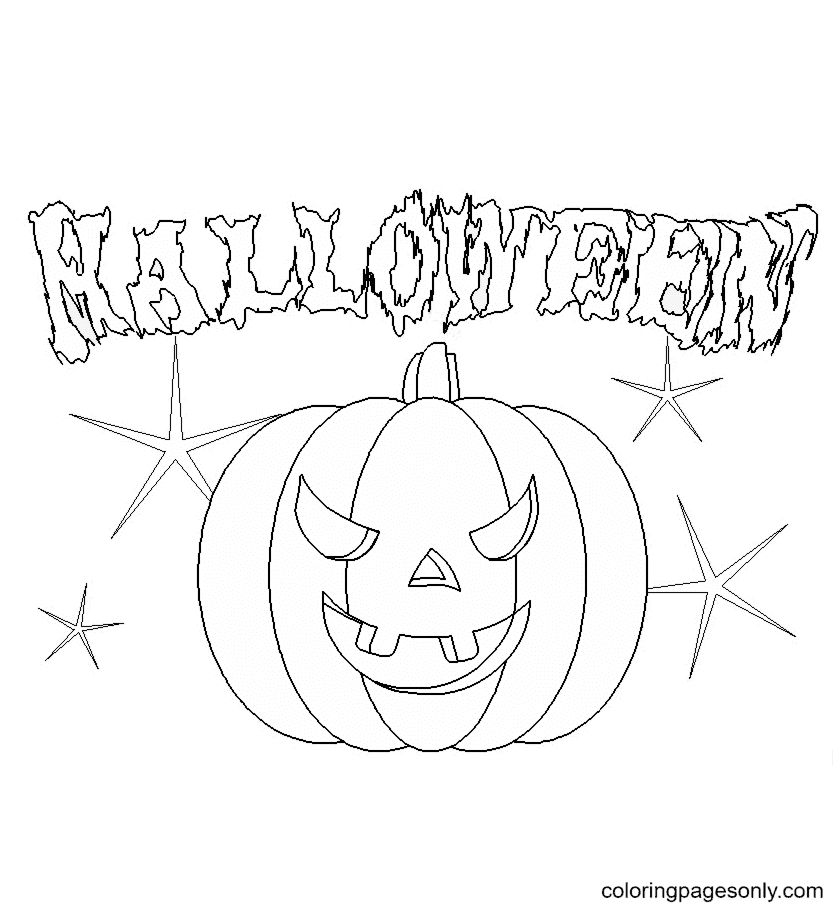 Free Scary Halloween Pumpkin Coloring Page