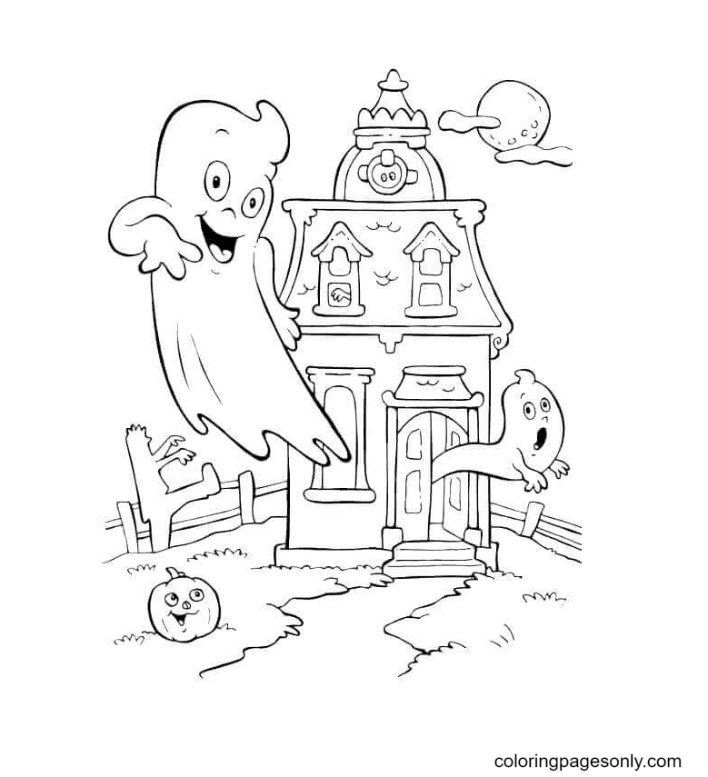 Friendly Ghost And Haunted House Coloring Page