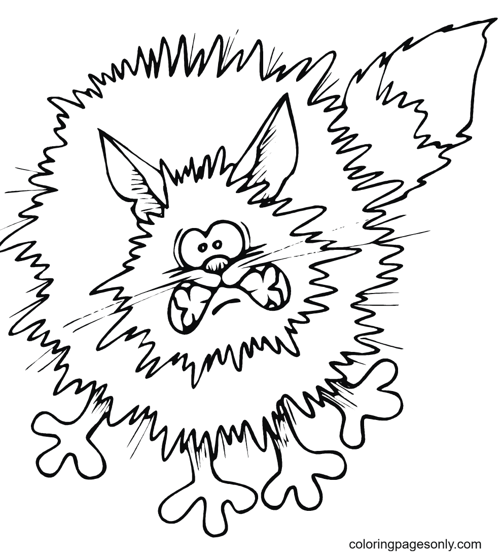 Frightened Cartoon Black Cat Coloring Page