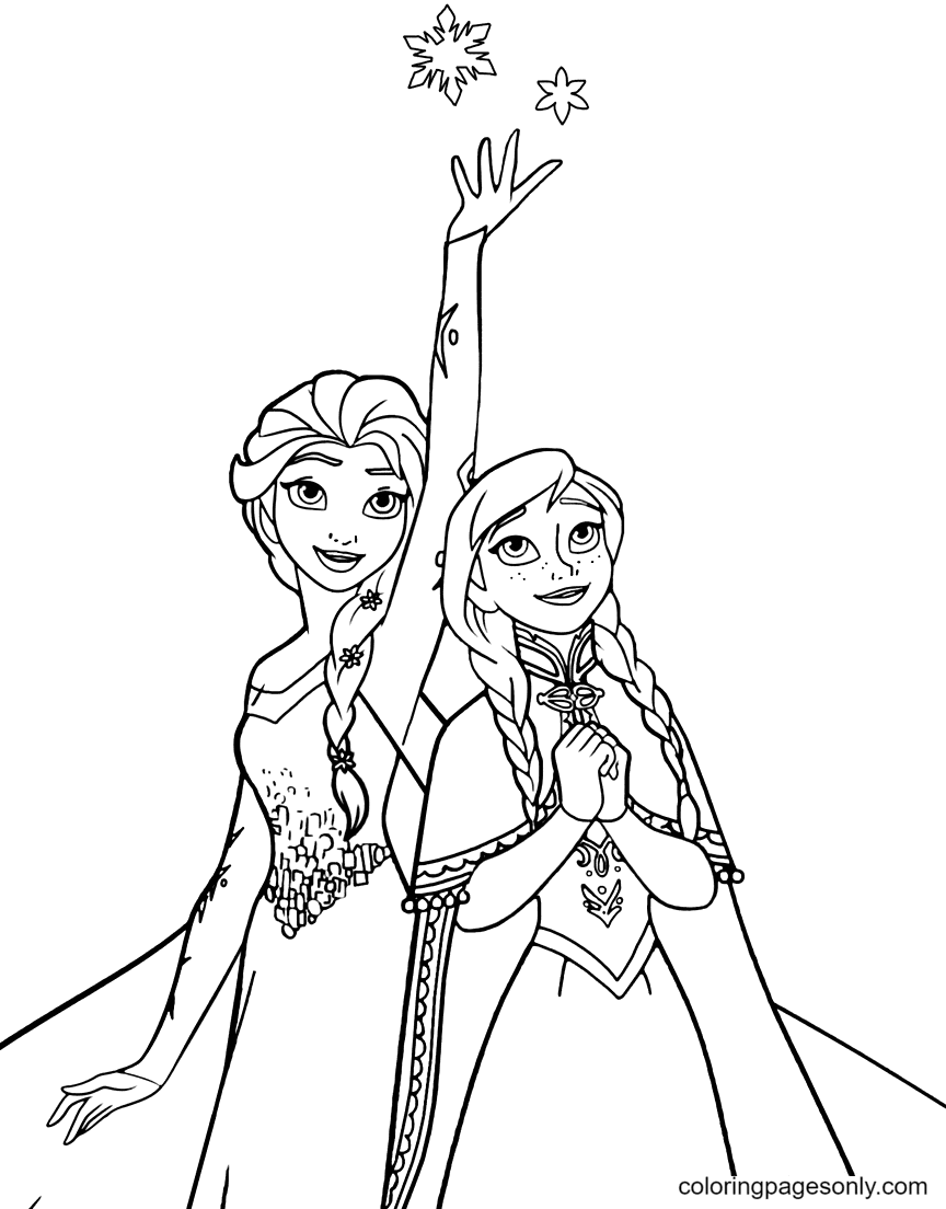 Frozen Anna with Elsa Coloring Page