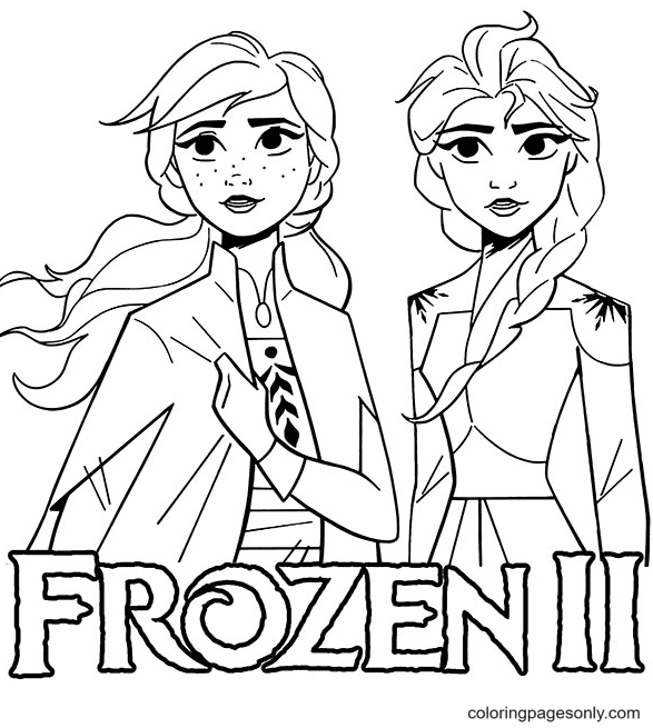 Frozen II Elsa and Anna Coloring Page