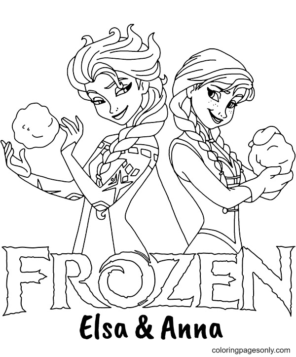 Frozen logo with Anna and Elsa Coloring Page