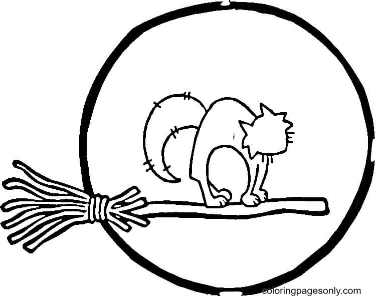Full Moon and Cat Coloring Page