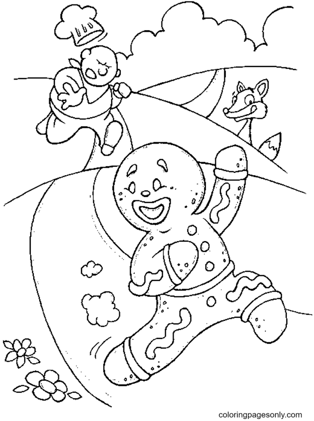 Funny Gingerbread Man Coloring Page