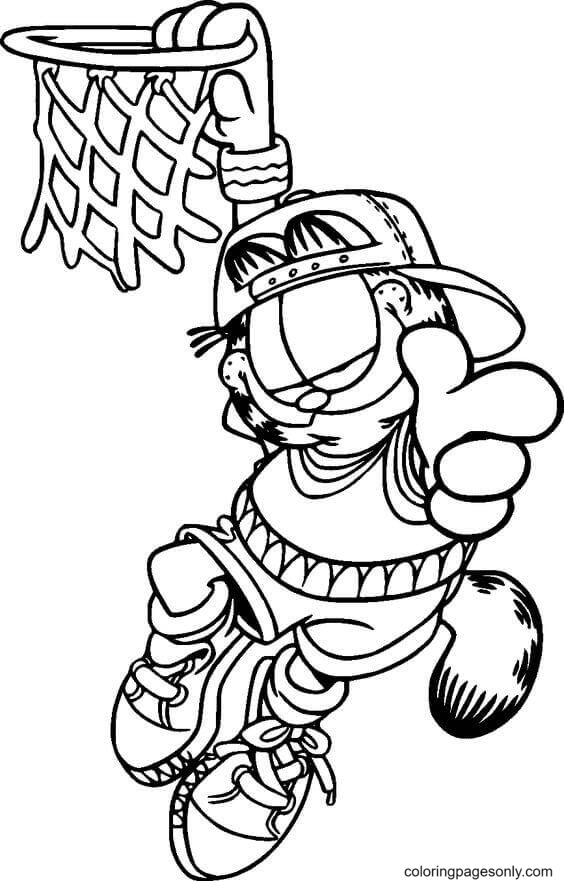 Garfield Scores Basketball Coloring Page