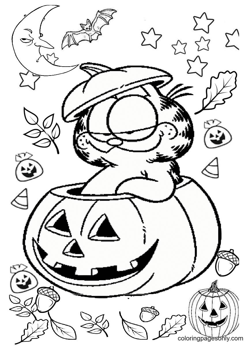 Garfield on Pumpkin Halloween Coloring Page