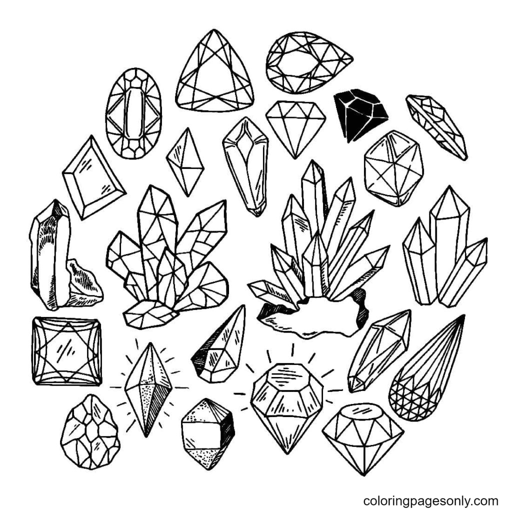 Gems Aesthetic Coloring Page